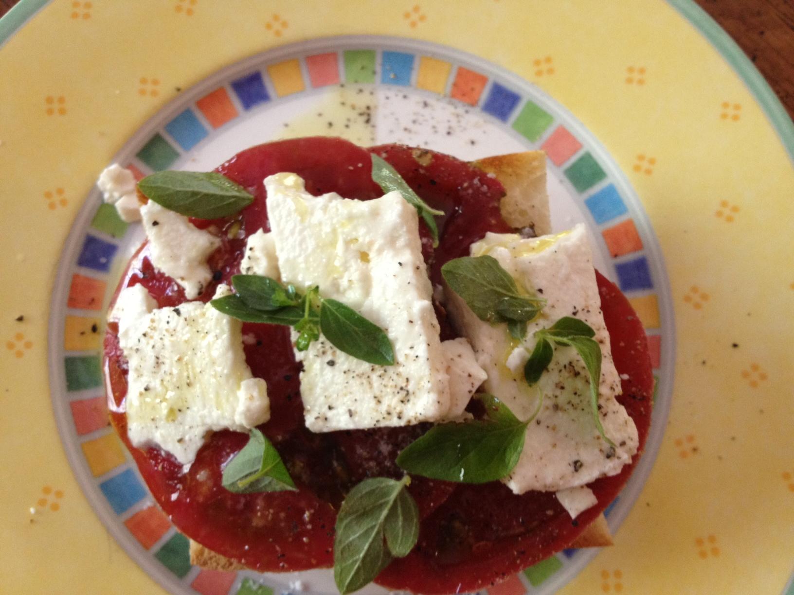 heirloom tomato sandwich with feta and fresh oregano | Serving The ...