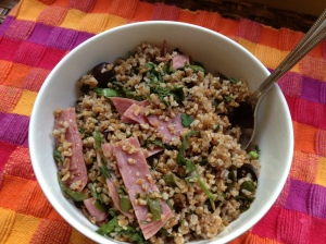 Bulgur Salad with Kale, Salami & Olives