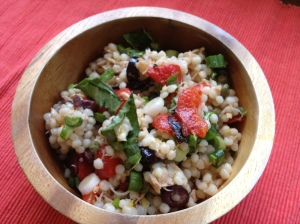 Israeli Couscous and Tuna Salad with Roasted Peppers, Olives & Basil