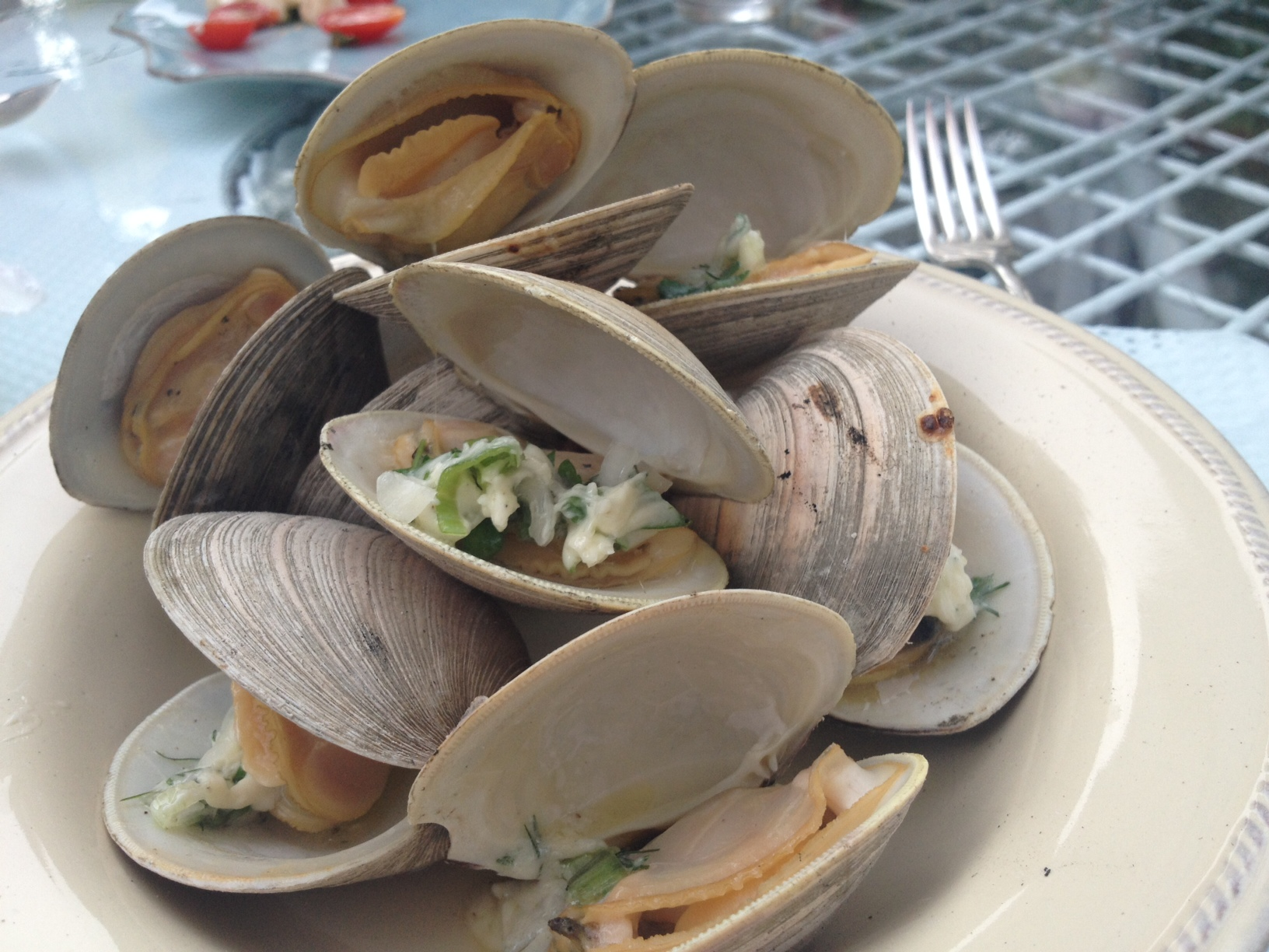 grilled clams with herb butter | Serving The Seasons